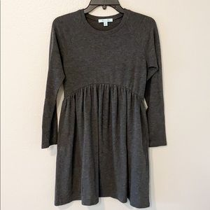 She & Sky Dark Grey Long Sleeve Smock Mini Dress